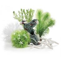 """Комплект декора """"цветущий сад"""" к аквариуму на 15 л,  зеленый"""