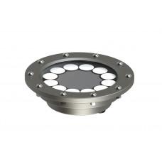 Светильник в корпусе из нержавеющей стали WaterLux S12 (свет теплый белый, 18Вт, 1440лм, IP68, 24В, DMX-RDM, линза 10' - 60')